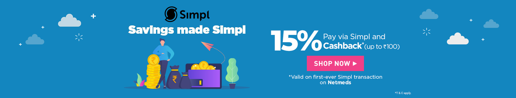 Make payment via Simpl Pay to get 15% cashback