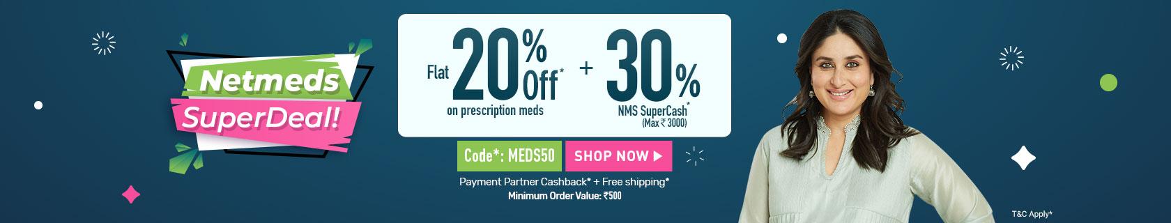 Get up to 50% off on medicines + Cashback