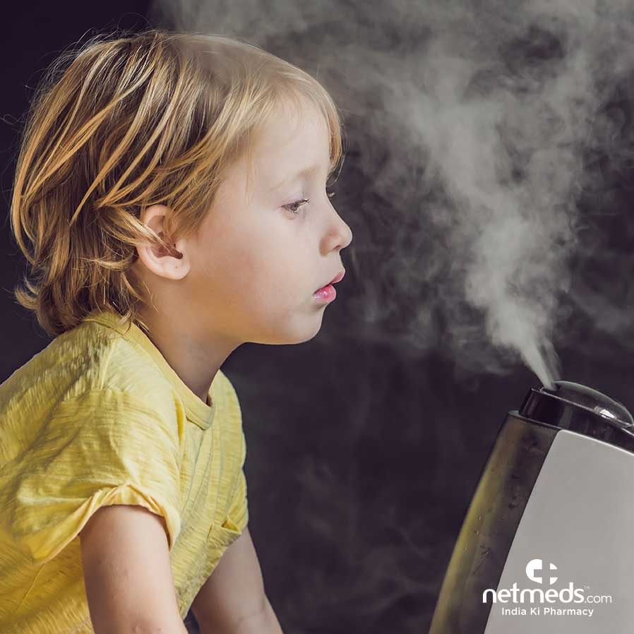 A girl using humidifier