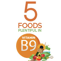 5 Foods Incredibly Rich In Vitamin B9 For Overall Health-Infographic