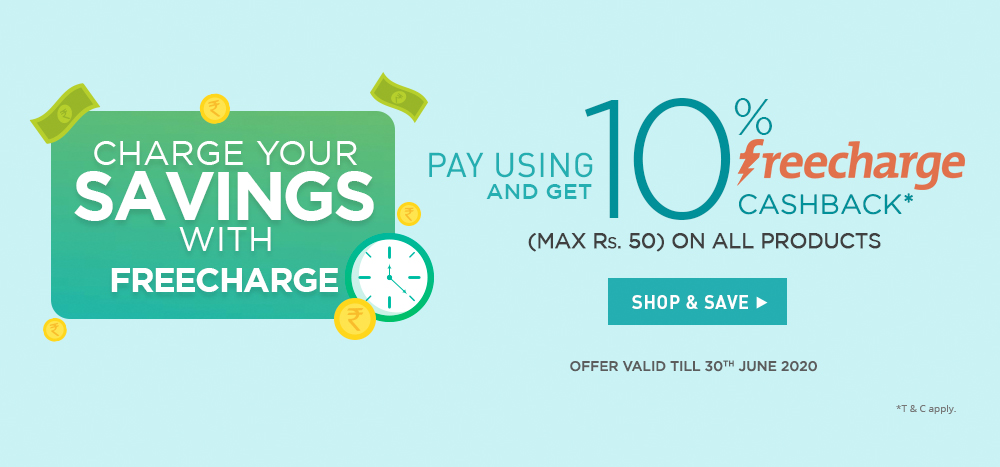 Pay with Freecharge & get 10% cashback @ Netmeds!