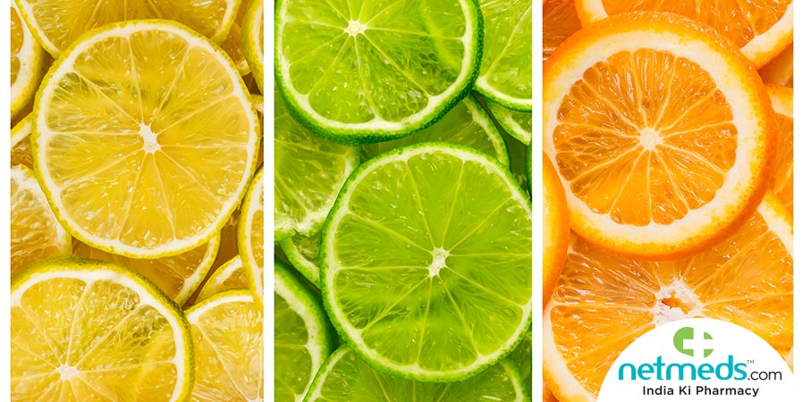 Lemons, sweet limes and oranges