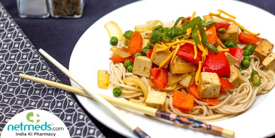 Mixed Veg Tofu Noodles