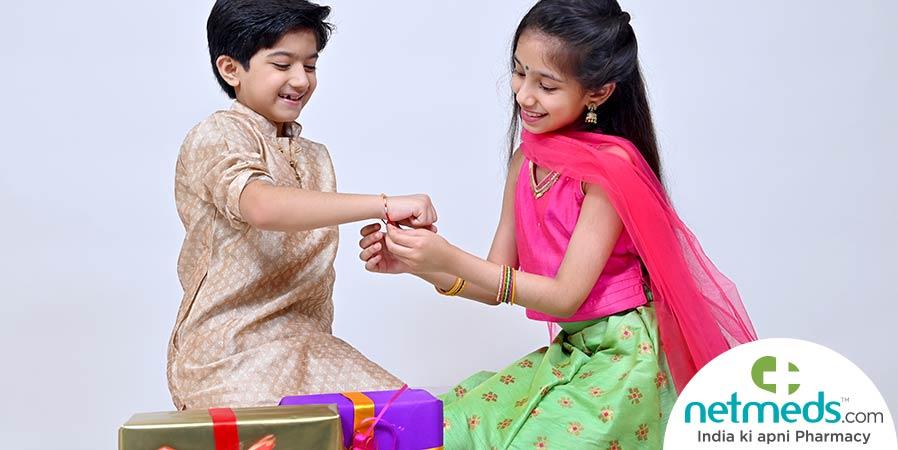 Siblings celebrating Raksha Bandhan