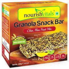 NourishVitals Granola Snack Bar - Chia Flax Fruit Mix (5 Bars) 250 gm
