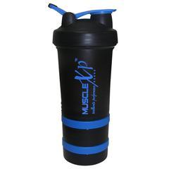 MuscleXP Advancedstak Protein Shaker with Steel Ball - Black & Blue 500 ml