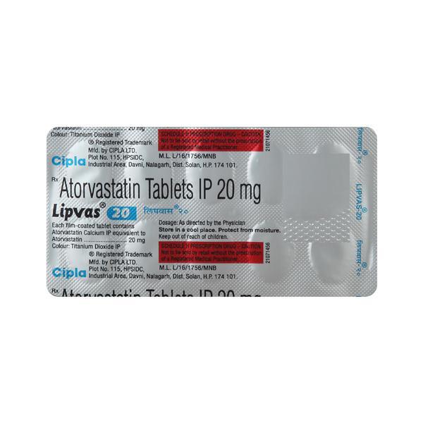 Lipvas 20mg Tablet 10'S
