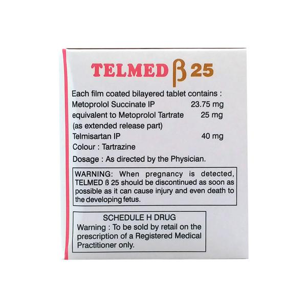 Telmed Beta 25mg Tablet 10'S