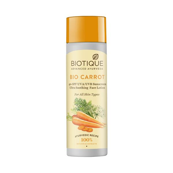 Biotique Bio Carrot 40+ SPF UVA/UVB Sunscreen Ultra soothing Face Lotion for All Skin Types 190 ml