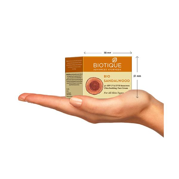 Biotique Bio Sandalwood 50+ SPF UVA/UVB Sunscreen Ultra Soothing Face Cream for All Skin Types 50 gm