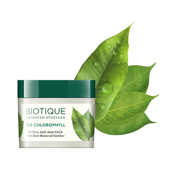 Biotique Bio Chlorophyll Oil Free Anti-Acne Gel & Post Hair Removal Soother for Oily & Acne Prone 50 gm