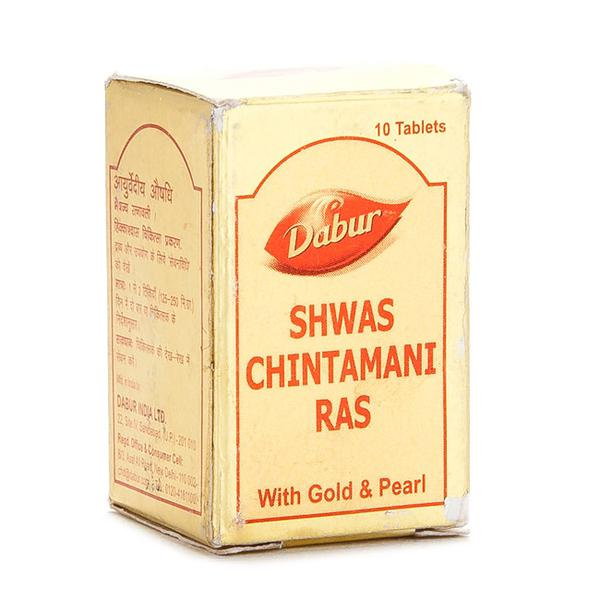 Dabur Shwas Chintamani Ras with Gold & Pearl Tablet 10's