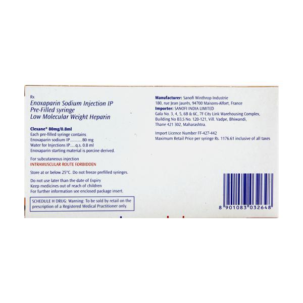 Clexane 80mg Injection(Pfs) 2X0.8ml