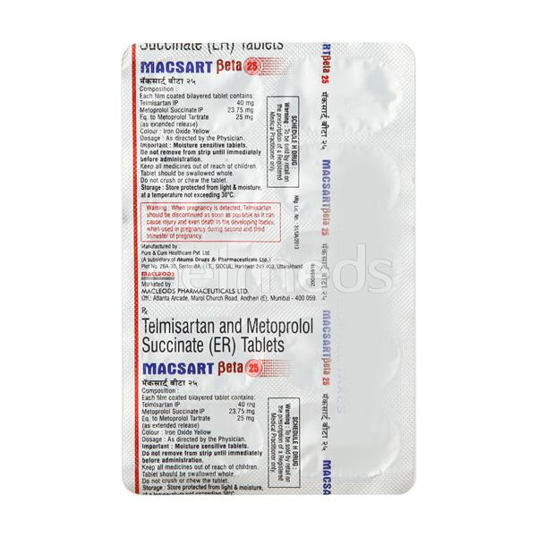 Macsart Beta 25mg Tablet 10'S