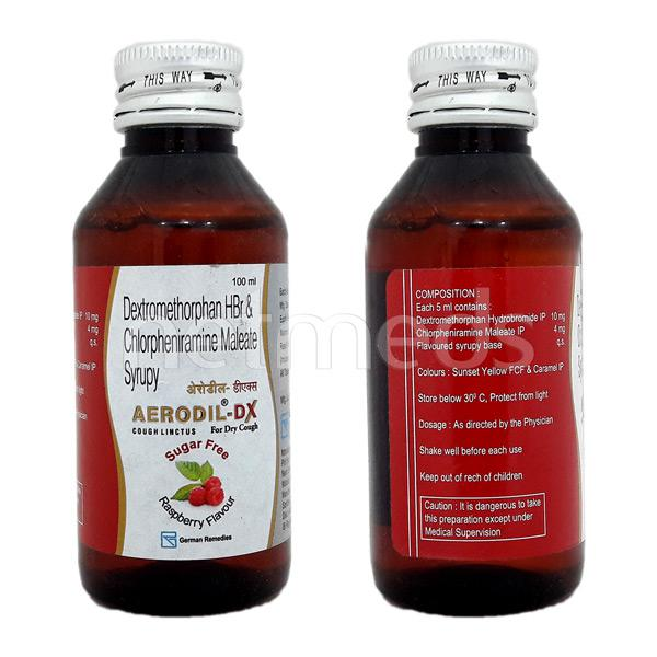 Aerodil DX Sugar Free Raspberry Flavour Dry Cough Syrup 100ml