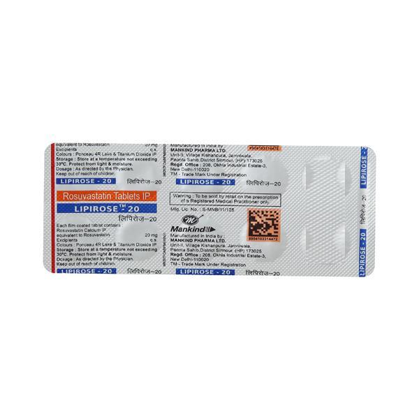 Lipirose 20mg Tablet 10'S