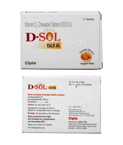D Sol 60K Sugar Free Orange Flavour Tablet 4'S