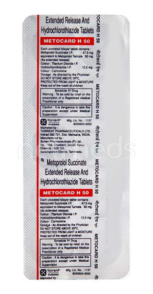 Metocard H 50mg Tablet 10'S