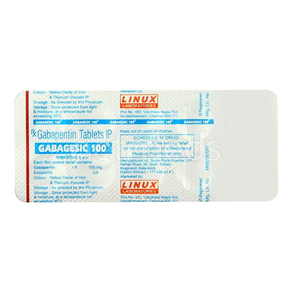 Gabagesic 100mg Tablet 10'S