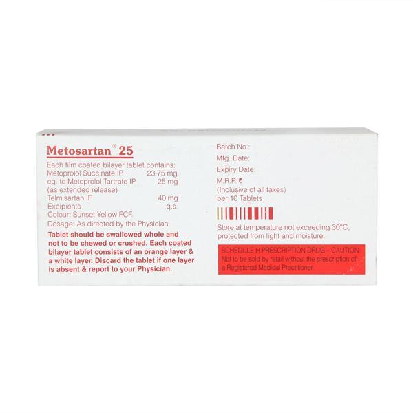 Metosartan 25mg Tablet 10'S