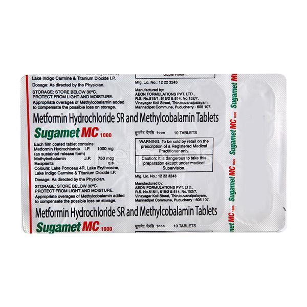 Sugamet MC 1gm Tablet 10'S