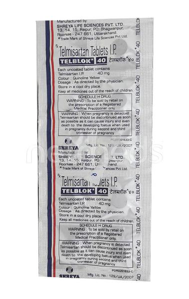 Telblok 40mg Tablet 10'S