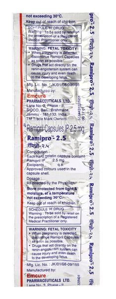 Ramipro 2.5mg Capsule 10'S