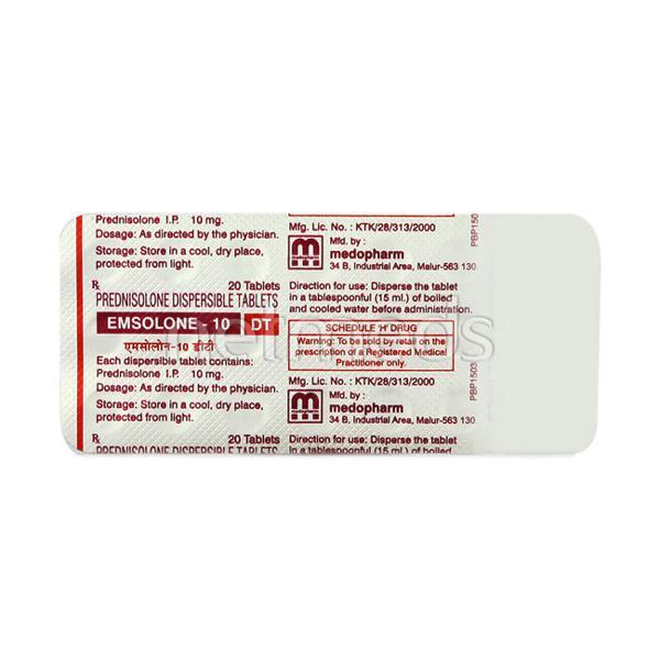 Emsolone DT 10mg Tablet 20'S