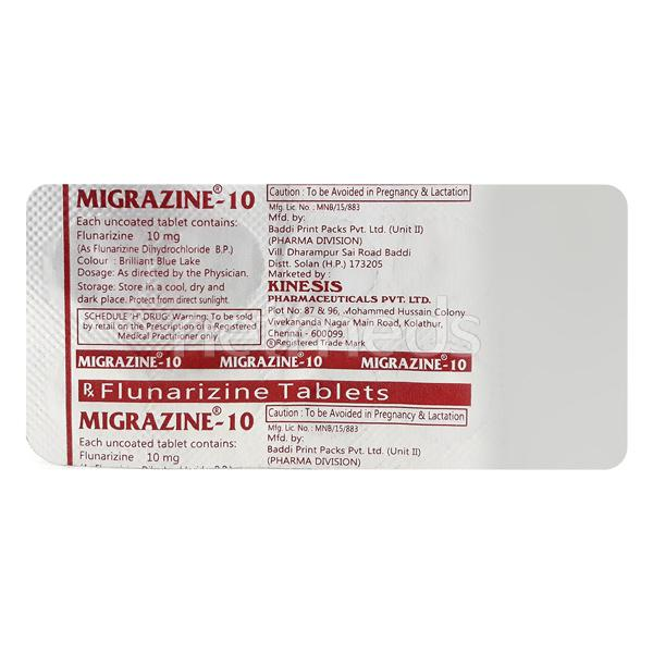 Migrazine 10mg Tablet 10'S