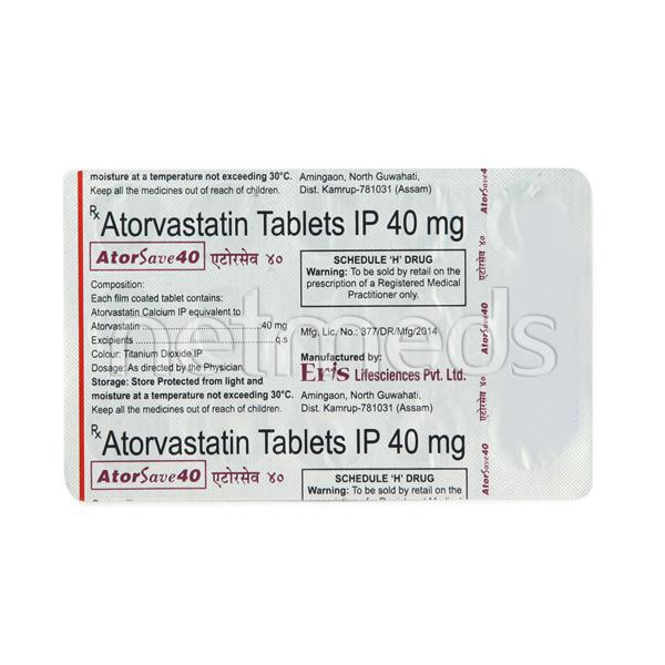 Atorsave 40mg Tablet 15'S