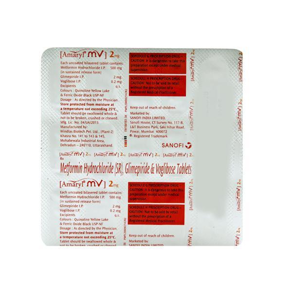 Amaryl MV 2mg Tablet 15'S