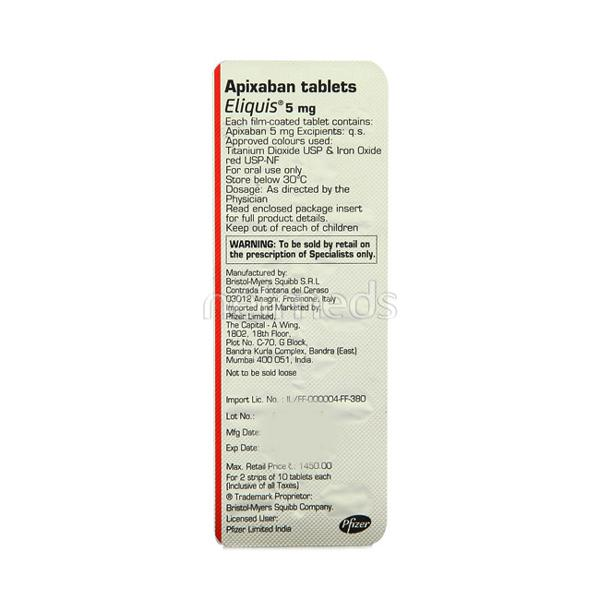 Eliquis 5mg Tablet 20'S