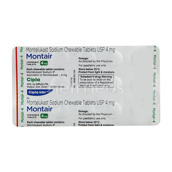 Montair 4mg Chewable Tablet 15'S