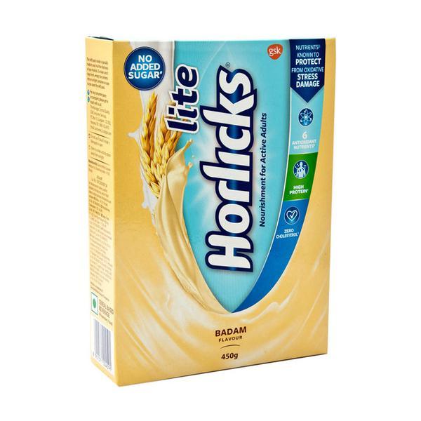 Horlicks Lite No Added Sugar Powder - Badam Flavour 450 gm (Pet Jar)