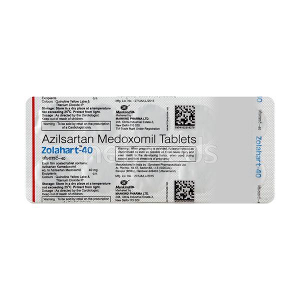 Zolahart 40mg Tablet 10'S