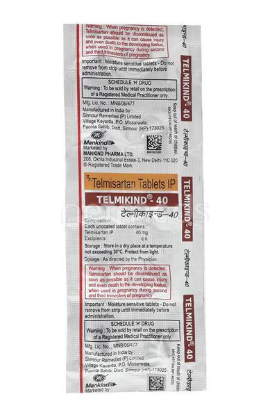 Telmikind 40mg Tablet 10'S
