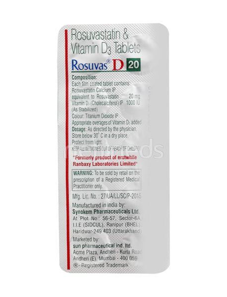 Rosuvas D 20mg Tablet 10'S