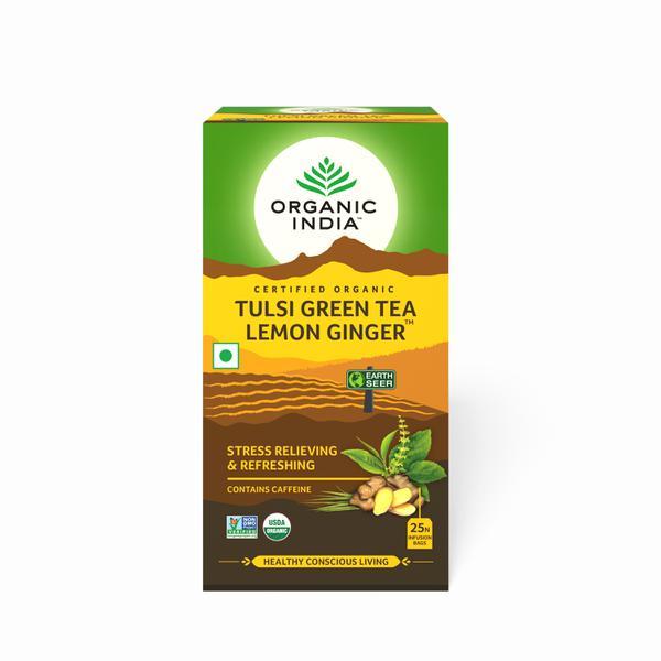 Organic India Tulsi Green Tea Bags - Lemon Ginger 25's