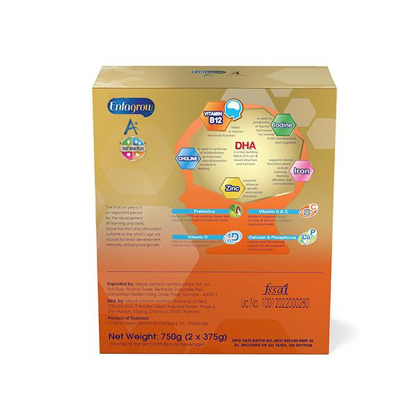 Enfagrow Nutritional Milk Powder A+ Stage 4 (2+ Years) - Vanilla Flavour 750 gm (Refill Pack)
