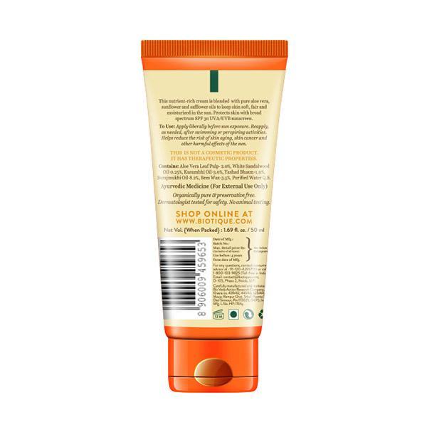 Biotique Bio Aloe Vera 30+ SPF UVA/UVB Sunscreen Ultra Soothing Body Lotion - Normal to Oily Skin 50 ml