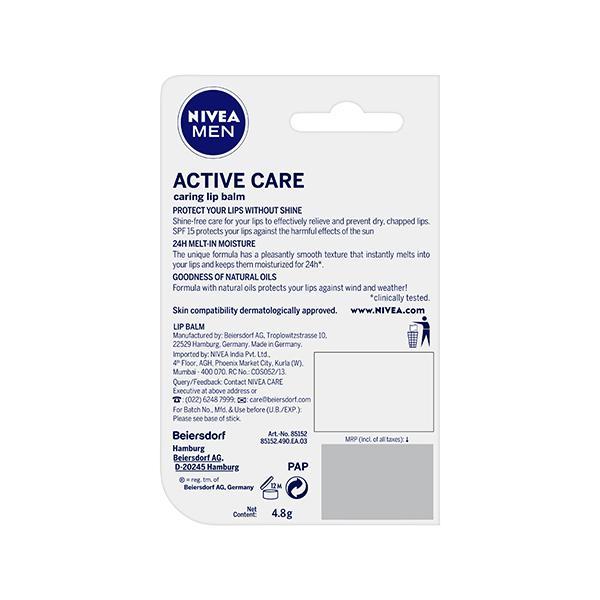 Nivea Men SPF 15 Lip Balm - Active Care 4.8 gm