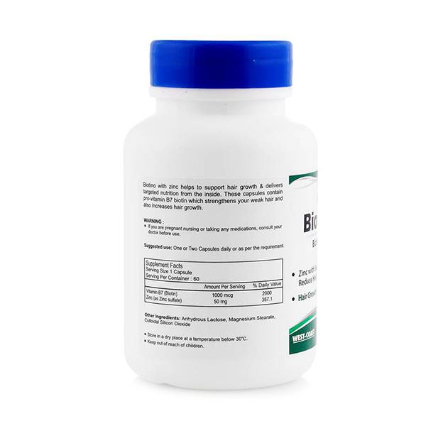 HealthVit Biotino-Z Biotin with Zinc Capsules 60's