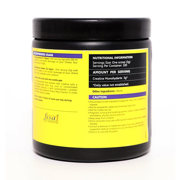 HealthVit Fitness Micronized Creatine Monohydrate Powder - Unflavored 300 gm