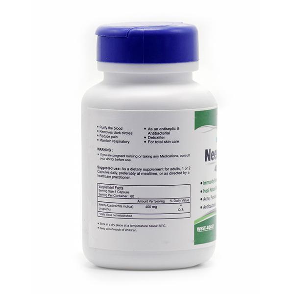 HealthVit Nimcare Neem Powder 400 mg Capsules 60's