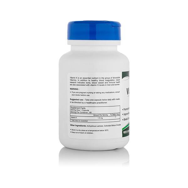 HealthVit Vitamin K 1.5 mg Capsules 60's