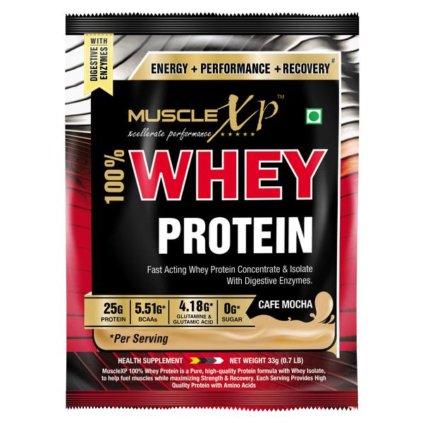 MuscleXP 100% Whey Protein Powder - Cafe Mocha Flavour 33 gm