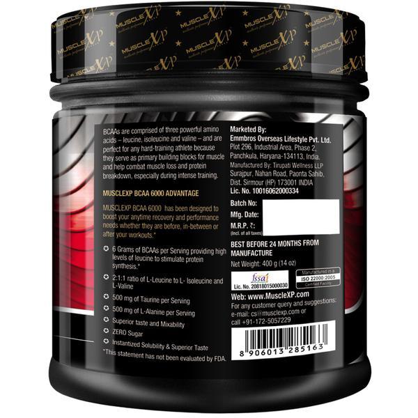 MuscleXP Instantized BCAA 6000 Supplement Powder - Orange Flavour 400 gm