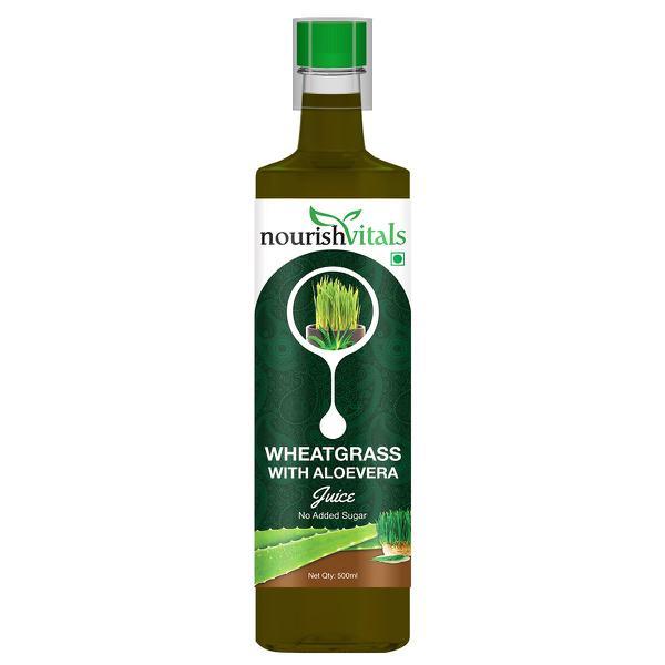 NourishVitals Wheatgrass with Aloevera Juice - No Added Sugar 500 ml