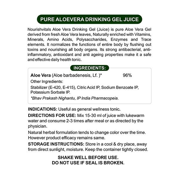 NourishVitals Pure Aloe Vera Drinking Gel Juice 500 ml