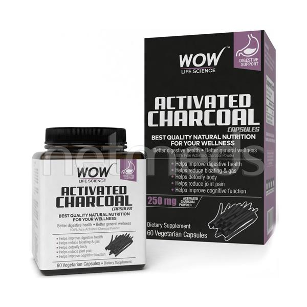 Wow Life Science Activated Charcoal Vegetarian Capsules 60's